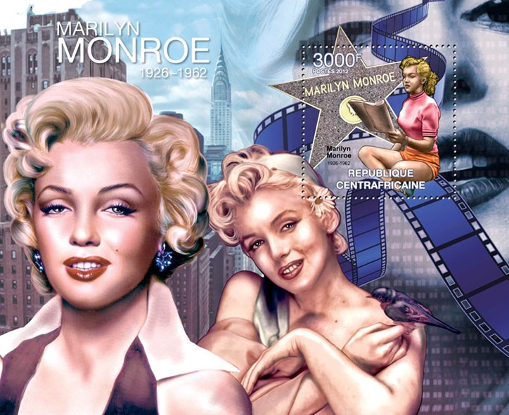 Marilyn Monroe, (1926-1962). - Issue of Central African republic postage stamps