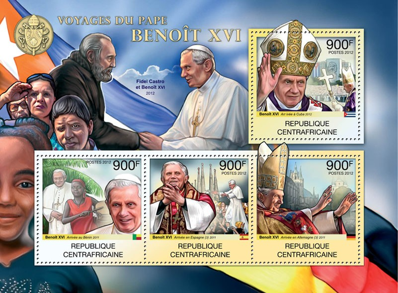 Traveling of Pope Benedict XVI. - Issue of Central African republic postage stamps