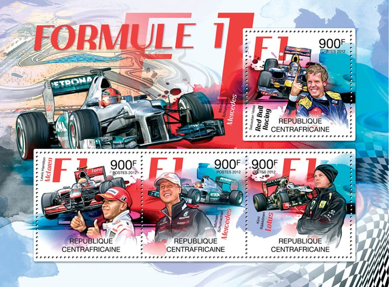 F1, (Red Bull Racing-Sebastian Vettel, Lotus-Kimi Raikkonen). - Issue of Central African republic postage stamps