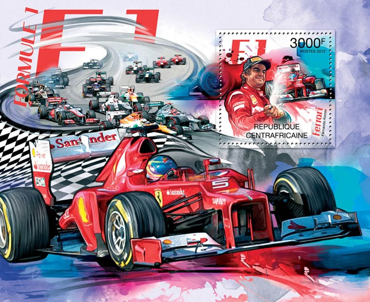 F1, (Ferrari-Fernando Alonso). - Issue of Central African republic postage stamps