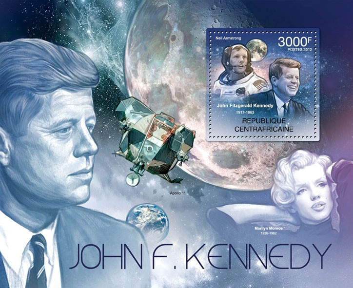 John F.Cennedy & Space, (Neil Armstrong). - Issue of Central African republic postage stamps