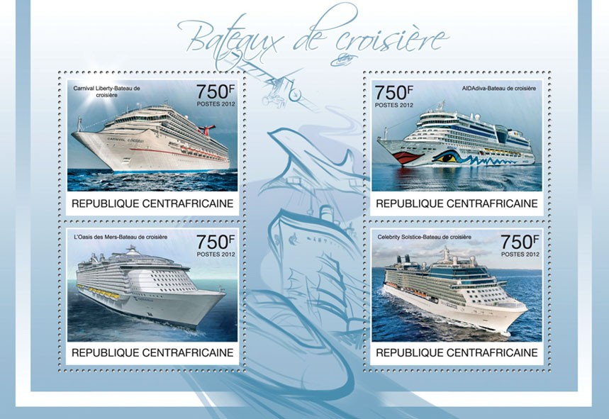 Cruise Ships, (Carnival Liberty, Celebrity Solstice). - Issue of Central African republic postage stamps