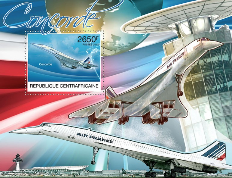 Concorde, (Airports). - Issue of Central African republic postage stamps