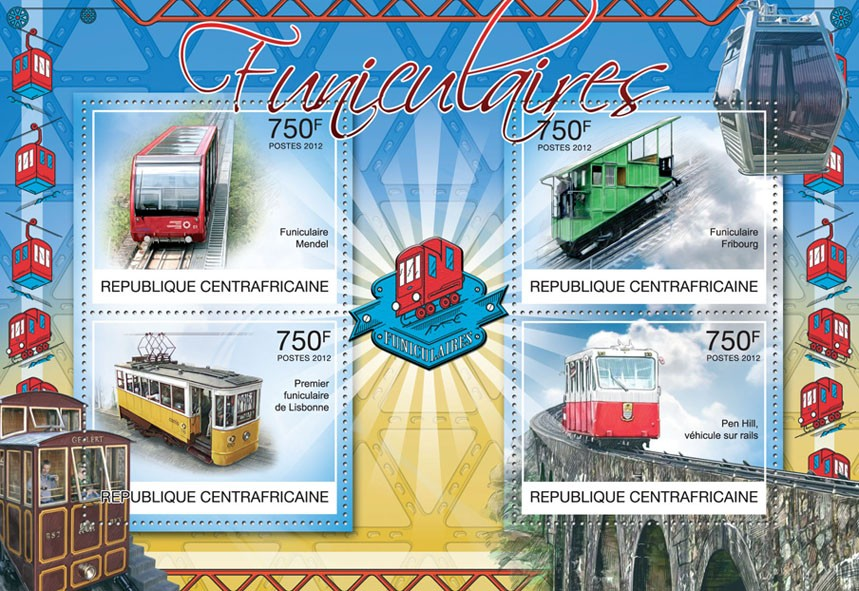 Funiculars, (Mendel, Pen Hill). - Issue of Central African republic postage stamps