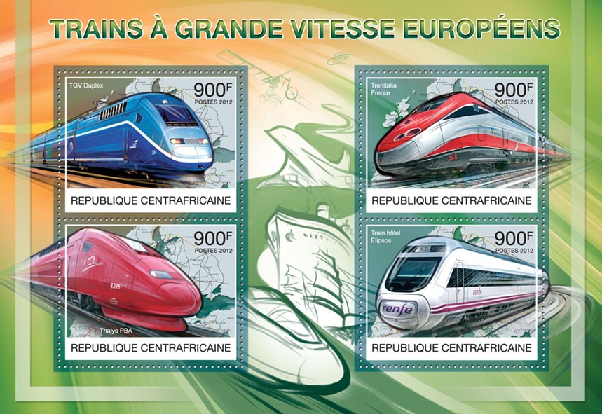 Speed Trains of Europe, (TGV Duplex, Train Hotel Elipsos). - Issue of Central African republic postage stamps