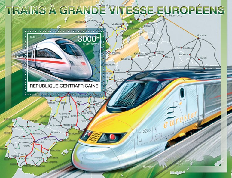 Speed Trains of Europe, (ICE T). - Issue of Central African republic postage stamps