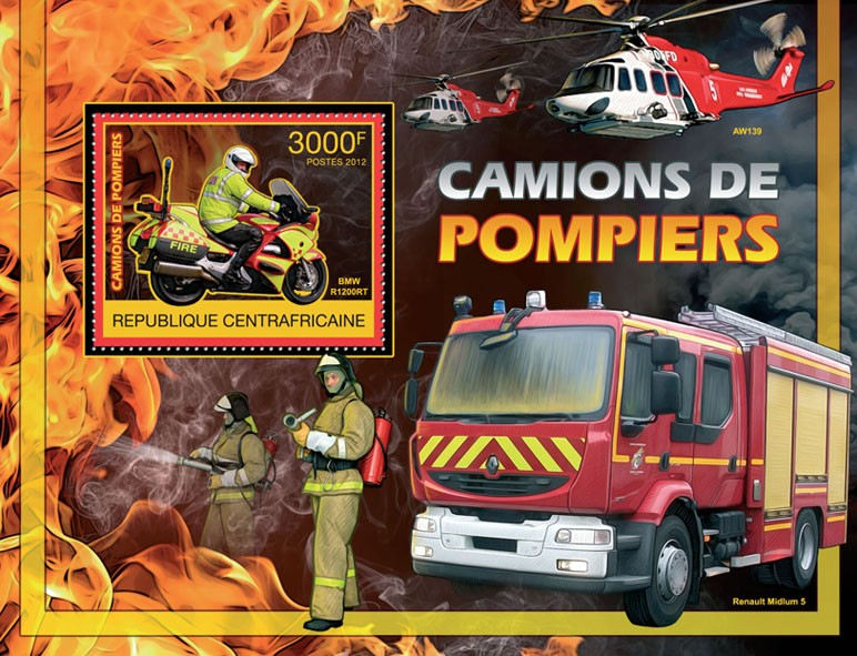 Fire Trucks - Issue of Central African republic postage stamps