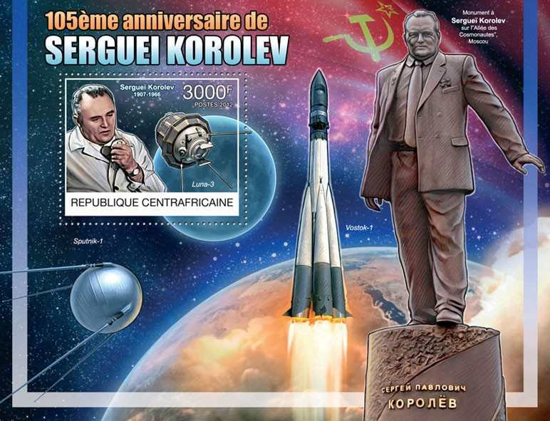 Sergei Korolev (1907-1966), (Space) - Issue of Central African republic postage stamps
