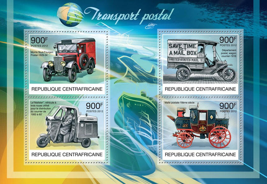 Postal Transport - Issue of Central African republic postage stamps
