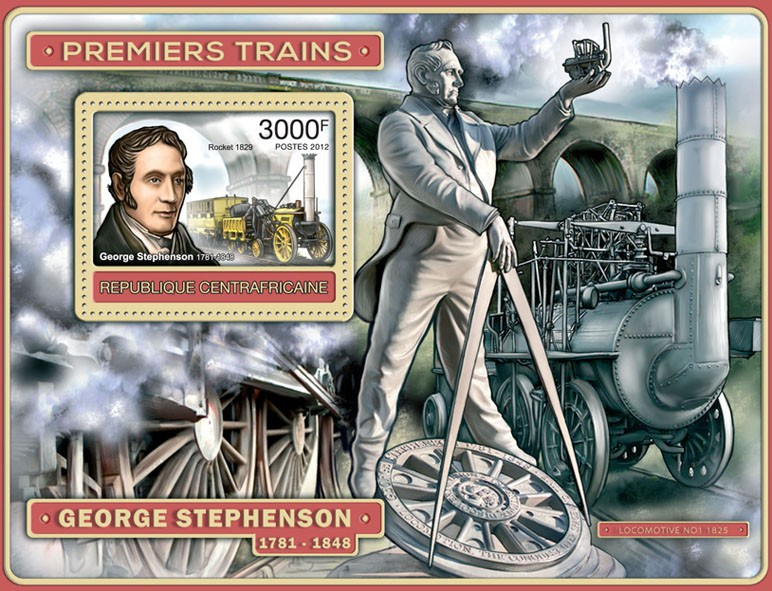 First Trains (George Stephenson) - Issue of Central African republic postage stamps