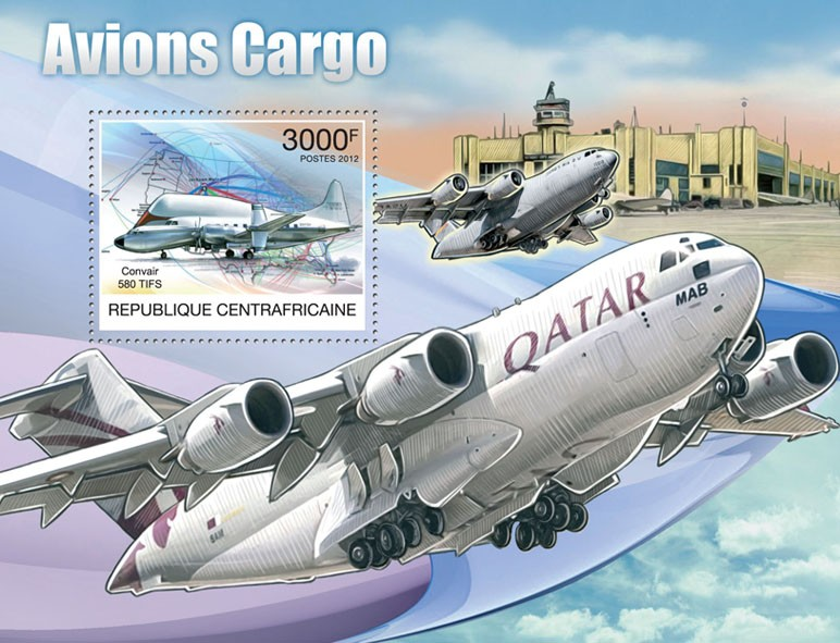 Cargo Planes - Issue of Central African republic postage stamps