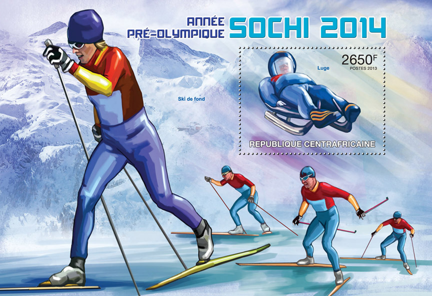 Sochi 2014 - Issue of Central African republic postage stamps