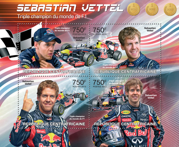 Sebastian Vettel F1 - Issue of Central African republic postage stamps