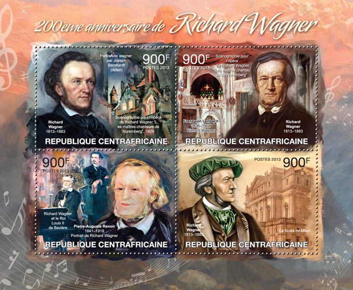 Richard Wagner - Issue of Central African republic postage stamps