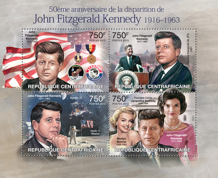 J.F. Kennedy, (50th anniversary). - Issue of Central African republic postage stamps