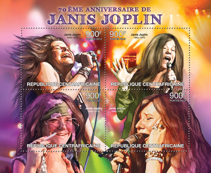 Janis Joplin - Issue of Central African republic postage stamps