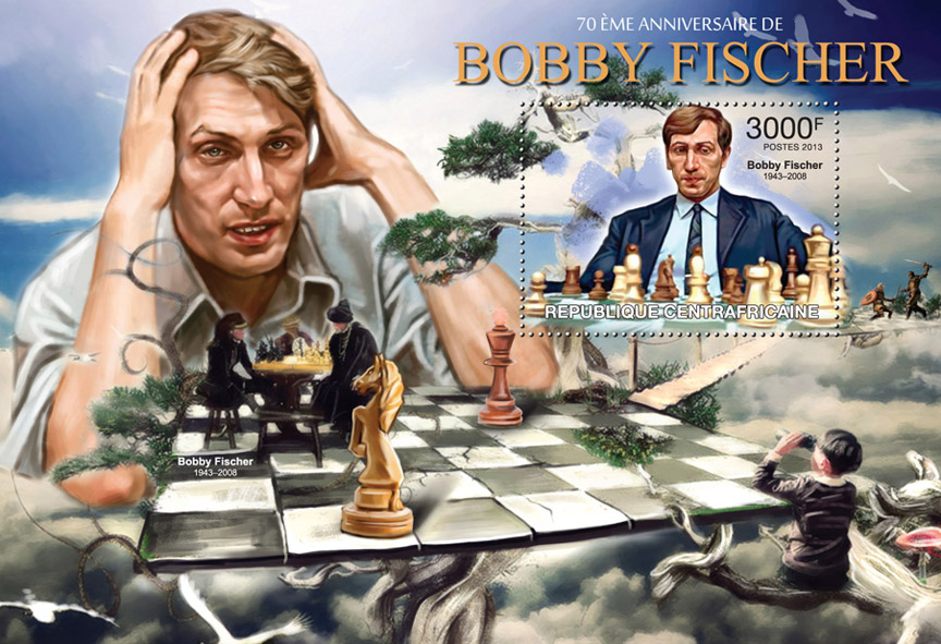 Bobby Fischer - Issue of Central African republic postage stamps