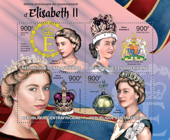 Elisabeth II - Issue of Central African republic postage stamps