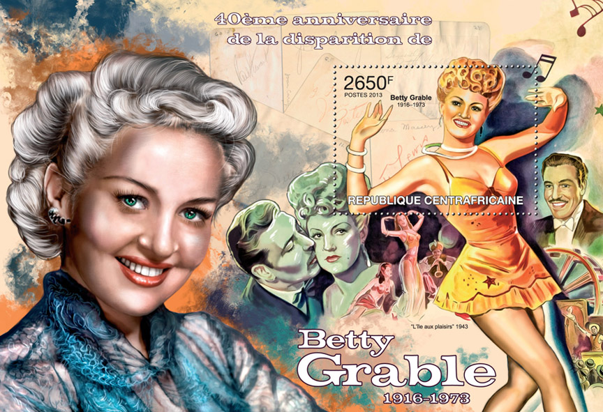 Betty Grable - Issue of Central African republic postage stamps