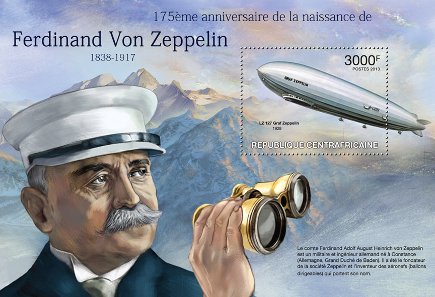 Ferdinand Von Zeppelin - Issue of Central African republic postage stamps