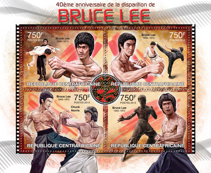 Bruce Lee - Issue of Central African republic postage stamps