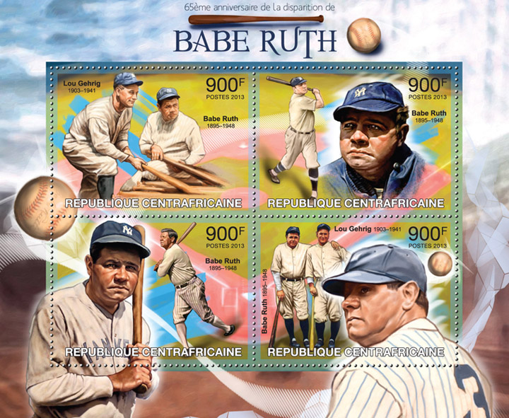 Babe Ruth - Issue of Central African republic postage stamps
