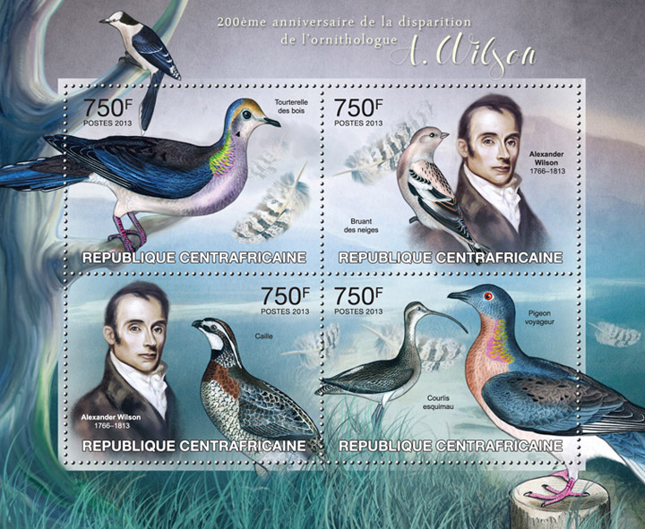Ornithologist A. Wilson - Issue of Central African republic postage stamps