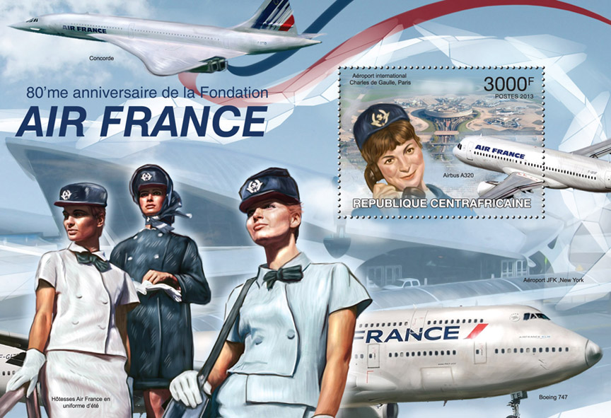 Air France - Issue of Central African republic postage stamps