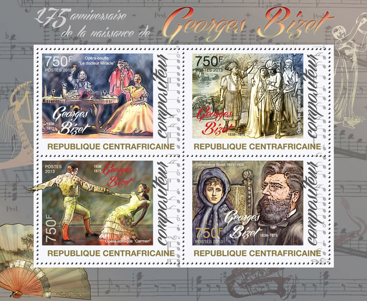 Georges Bizet - Issue of Central African republic postage stamps