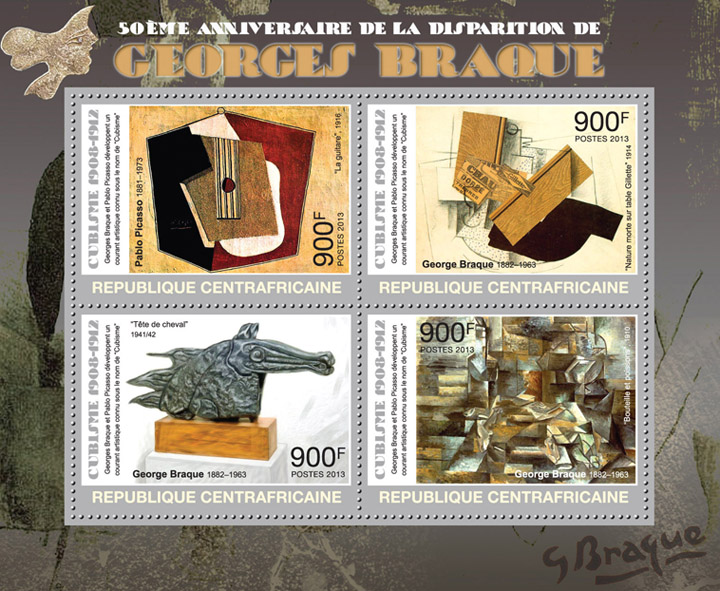 Georges Braque - Issue of Central African republic postage stamps