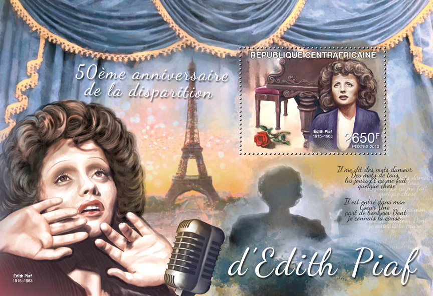 Edith Piaf - Issue of Central African republic postage stamps