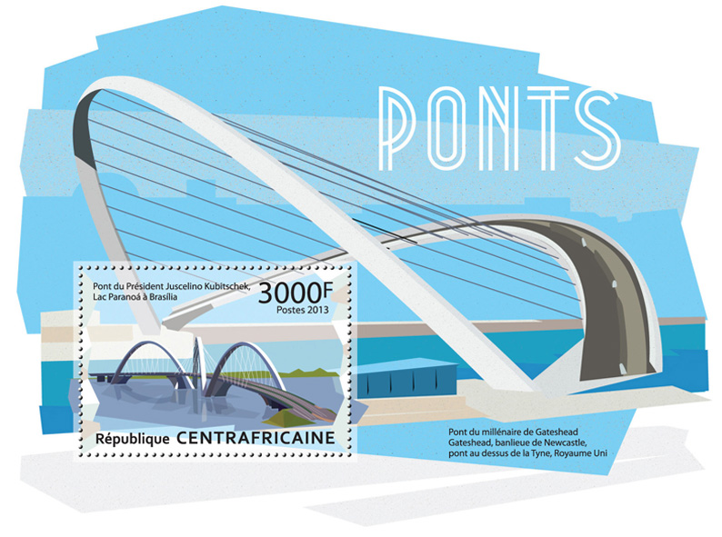 Bridges of the World  - Issue of Central African republic postage stamps