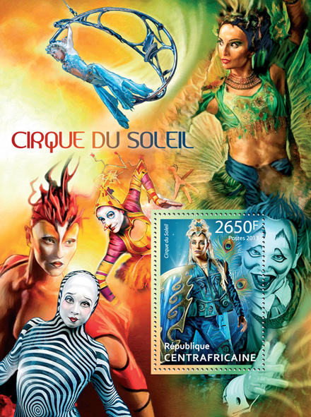 Cirque du Soleil - Issue of Central African republic postage stamps
