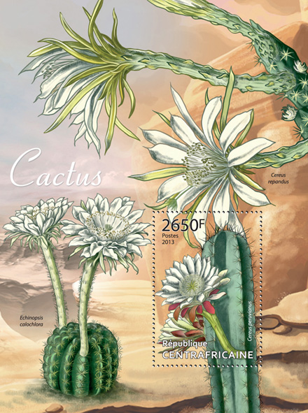 Cactus - Issue of Central African republic postage stamps