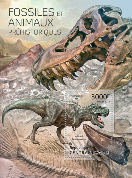 Fossils & Prehistoric Animals - Issue of Central African republic postage stamps
