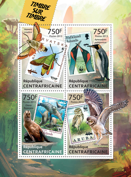 Stamp on stamp - Issue of Central African republic postage stamps