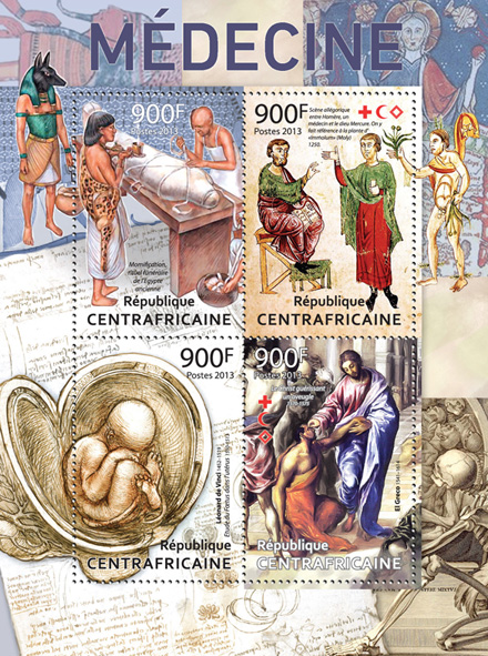 Medicine. - Issue of Central African republic postage stamps