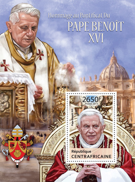 Pope Benedict XVI. - Issue of Central African republic postage stamps