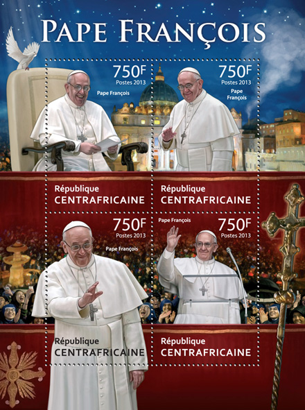 Pope Francois.  - Issue of Central African republic postage stamps