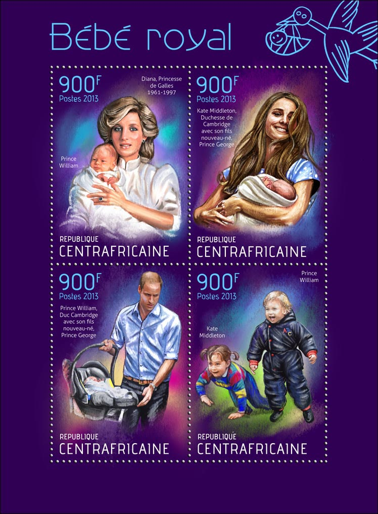 Royal Baby Prince George Alexander Louis - Issue of Central African republic postage stamps