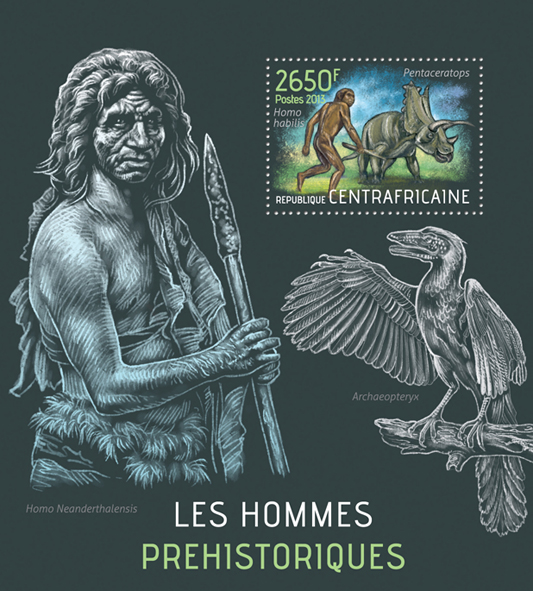 Prehistoric humans - Issue of Central African republic postage stamps