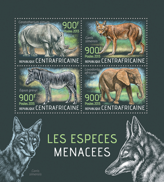 Endangered animals - Issue of Central African republic postage stamps