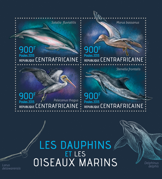 Dolphins and birds - Issue of Central African republic postage stamps