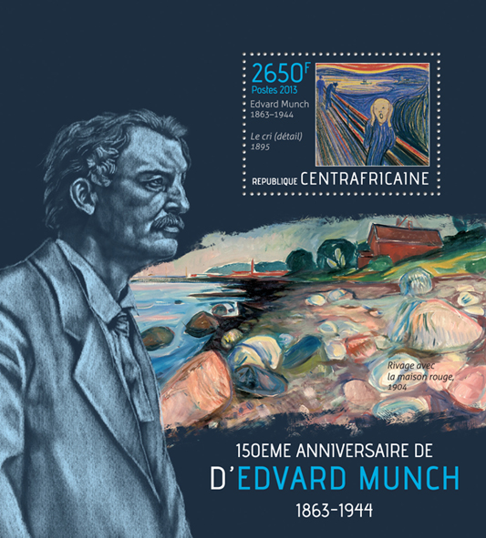 Edvard Munch - Issue of Central African republic postage stamps