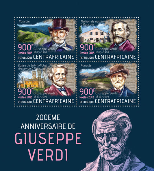 Giuseppe Verdi - Issue of Central African republic postage stamps