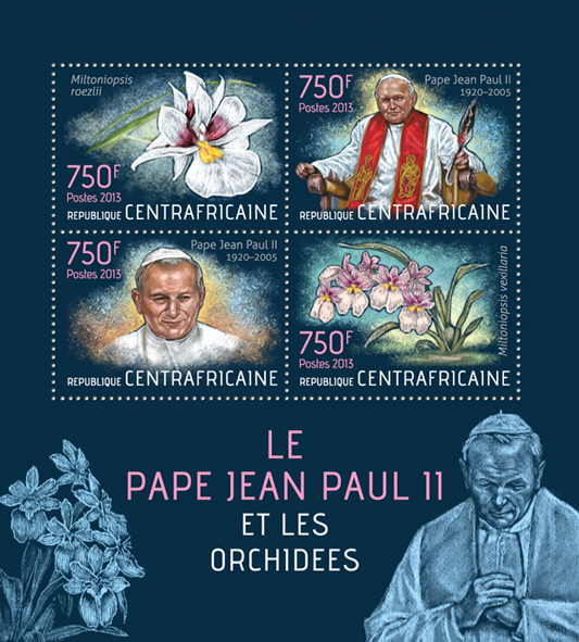 Pope John Paul II and orchids - Issue of Central African republic postage stamps