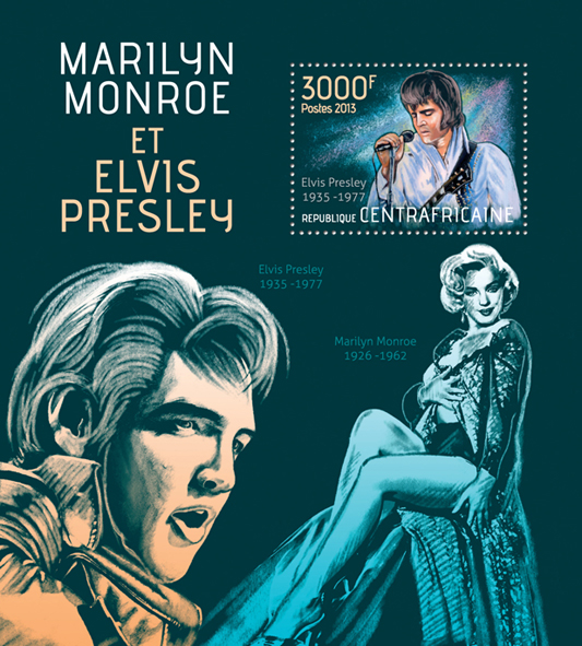 Marilyn Monroe and Elvis Presley - Issue of Central African republic postage stamps