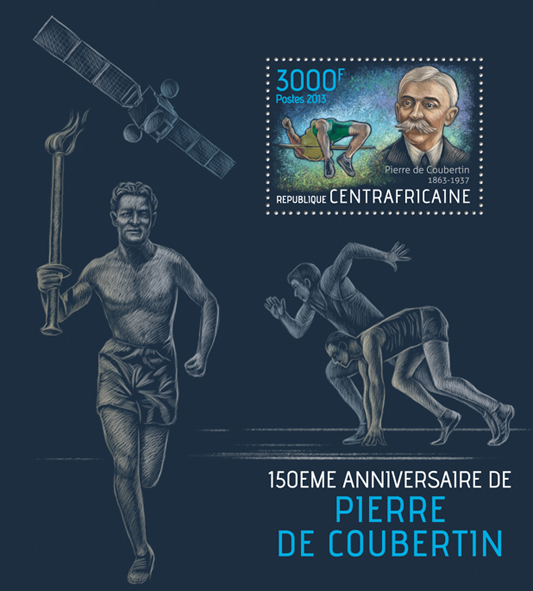 Pierre de Coubertin - Issue of Central African republic postage stamps