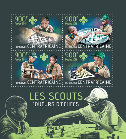 Scouts playing chess - Issue of Central African republic postage stamps