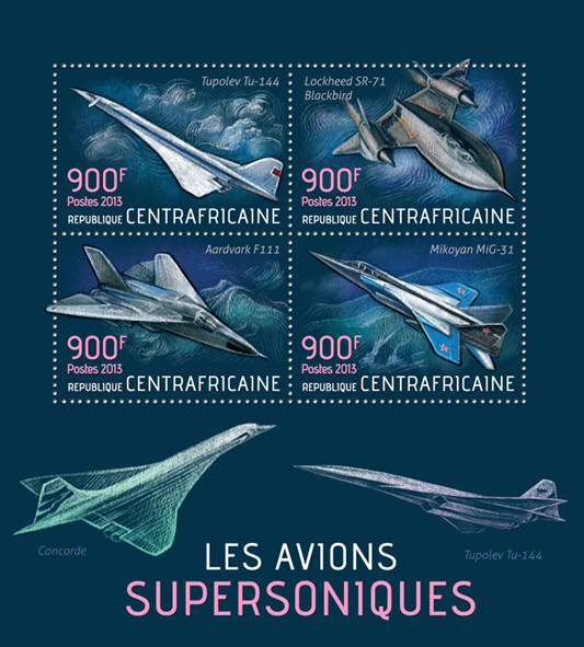 Aircrafts - Issue of Central African republic postage stamps